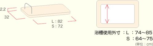 浴槽使用外寸L:74?85cm,S:64?75cm
