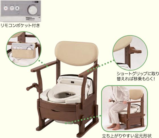 FBシャワー付木製ポータブルトイレ しゃわしゃわ